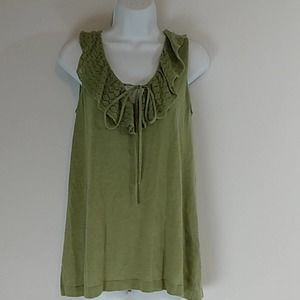 August Silk Olive Ruffled Neck Sweater